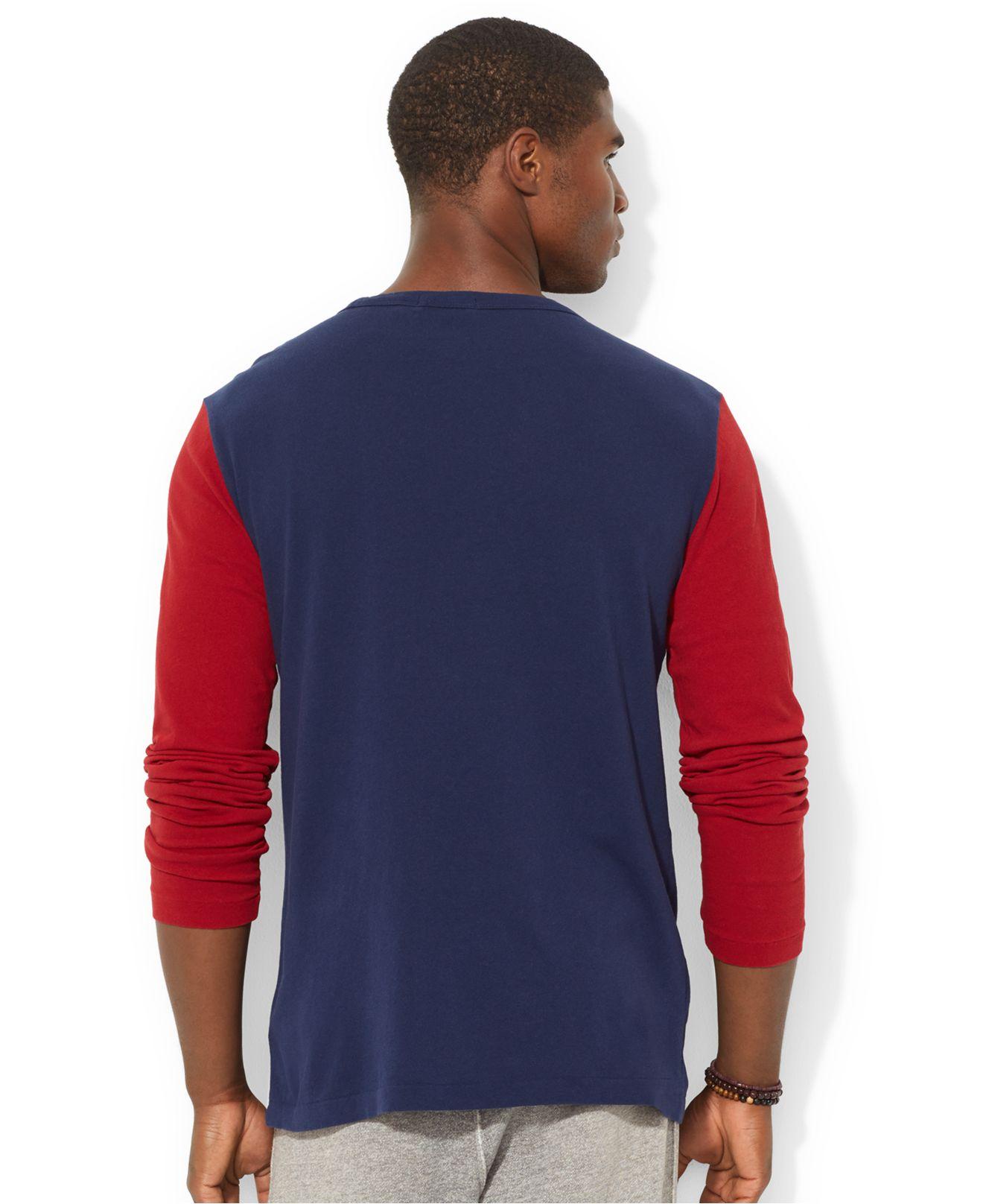 Polo ralph lauren jersey baseball shirt in red for men lyst for Ralph lauren polo jersey shirt