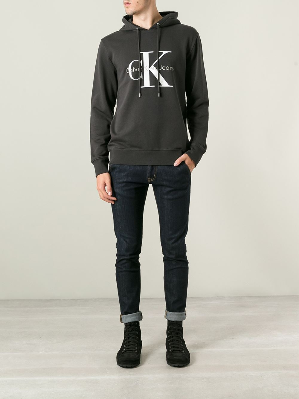 calvin klein jeans logo print cotton hoodie in black for. Black Bedroom Furniture Sets. Home Design Ideas