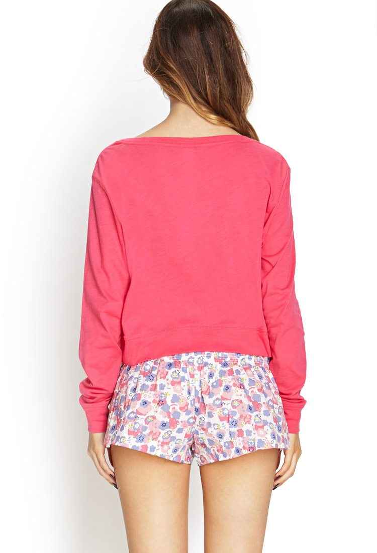 Lyst - Forever 21 No Makeup No Filter Pj Top in Pink 7c10f1f80