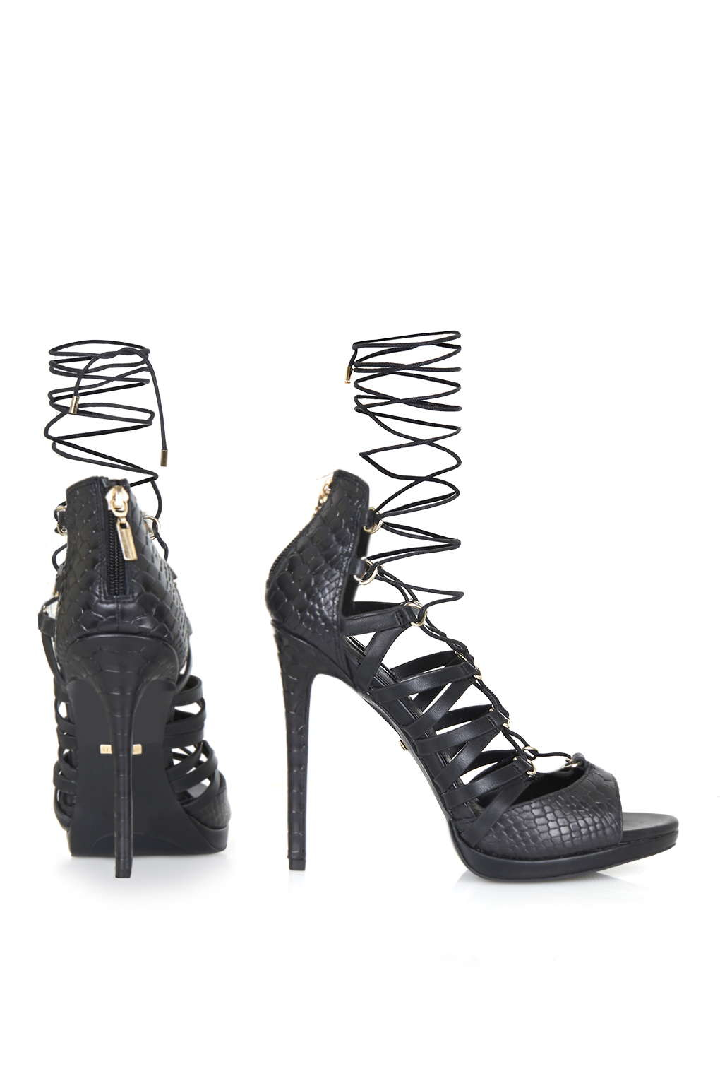 Topshop Ringo D Ring Ghillie Sandals In Black Lyst