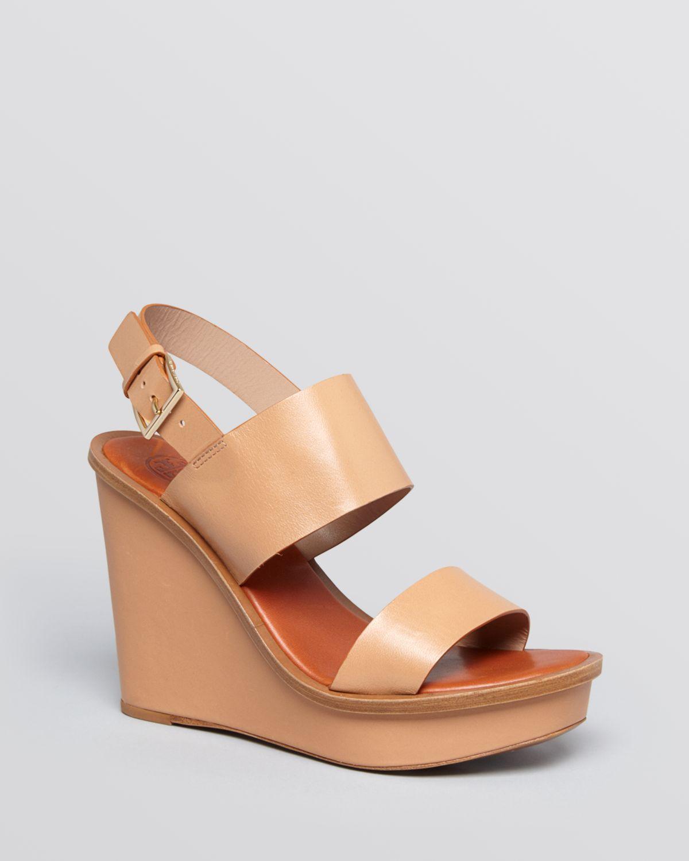 6ecc183010bab Lyst - Tory Burch Open Toe Platform Wedge Sandals - Lexington in Natural