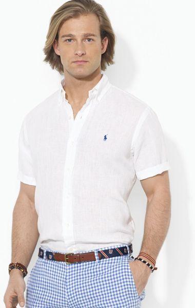 Ralph lauren polo button down short sleeve sport shirt for Button up collared sport shirts