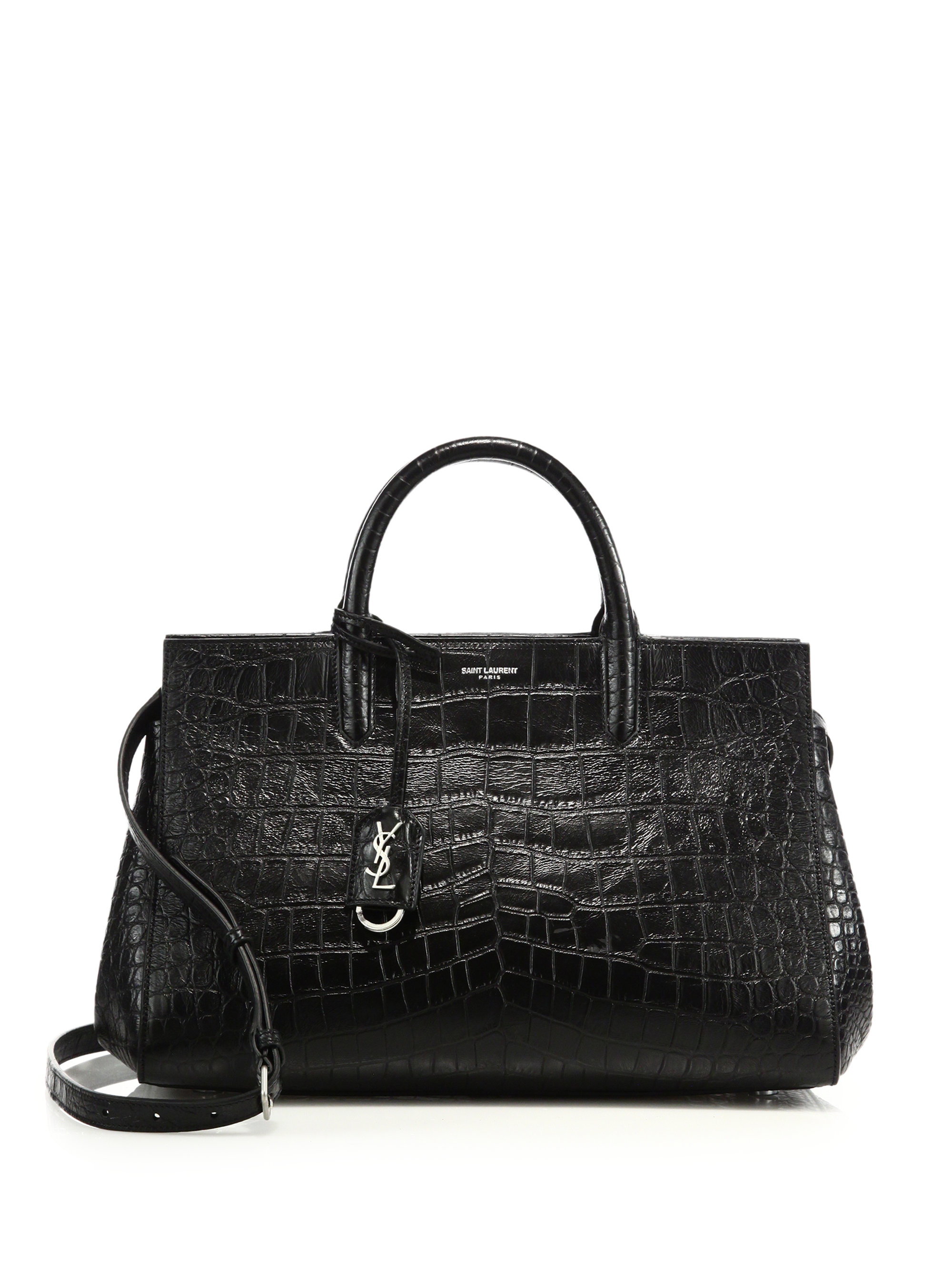 Small Cabas Rive Gauche Bag In Black Crocodile Embossed