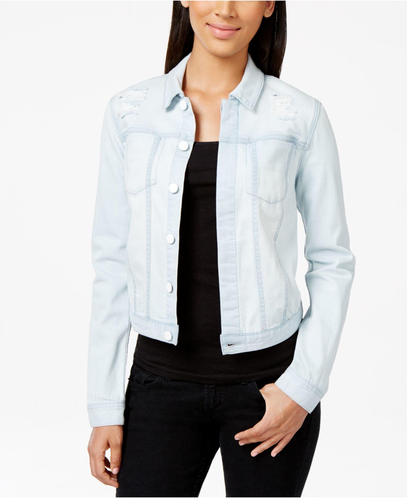 Calvin klein jeans Trucker Distressed Pale Indigo Wash Denim Jacket in Blue | Lyst