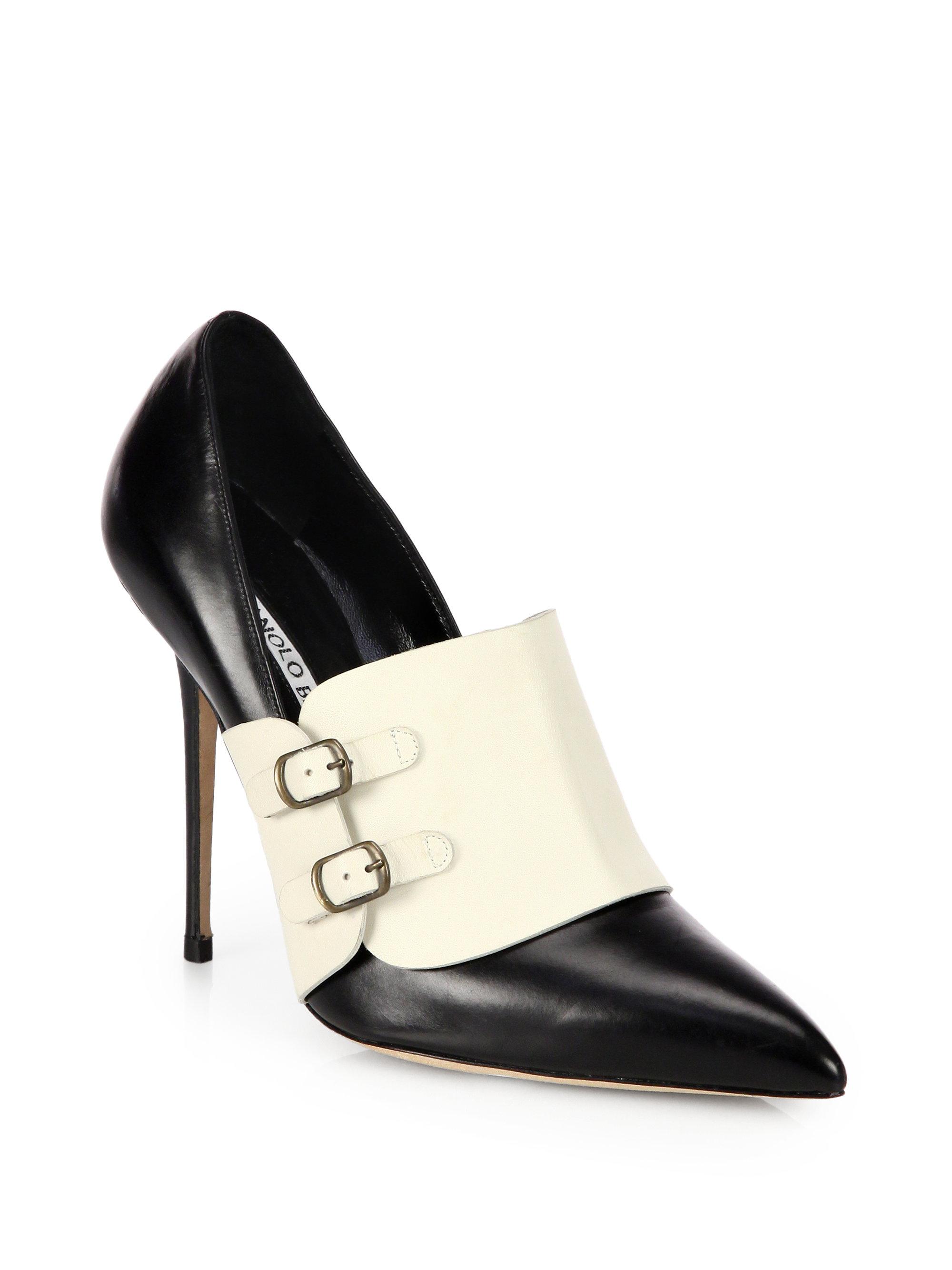 Lyst manolo blahnik encajada leather buckle pumps in black for Shoes by manolo blahnik