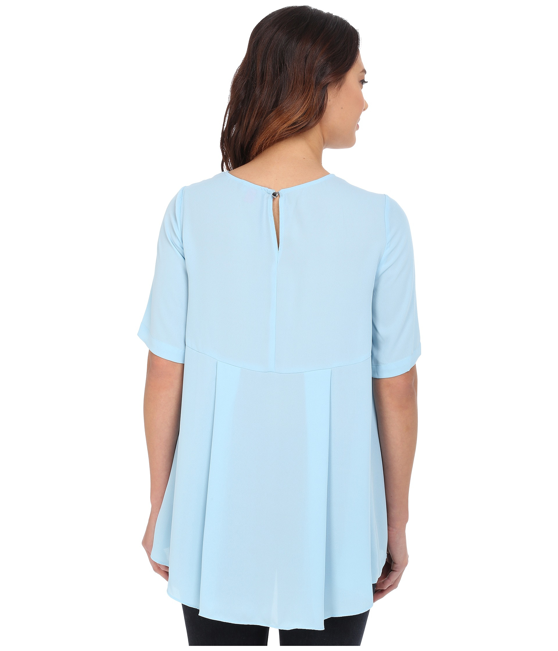 6ba815c4c6928 Lyst - Vince Camuto Elbow Sleeve High-low Hem Blouse in Blue