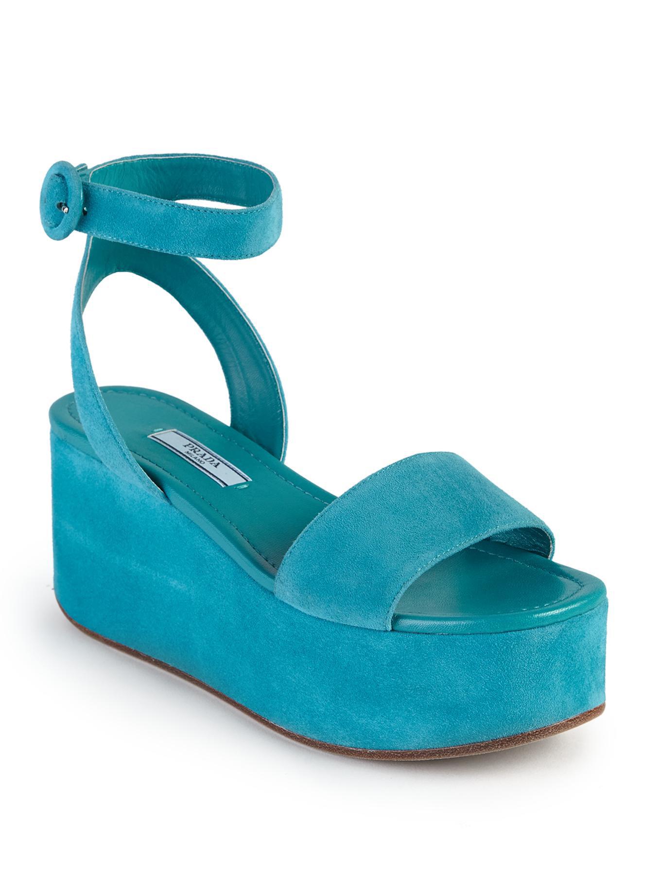 Lyst Prada Suede Platform Wedge Sandals In Blue