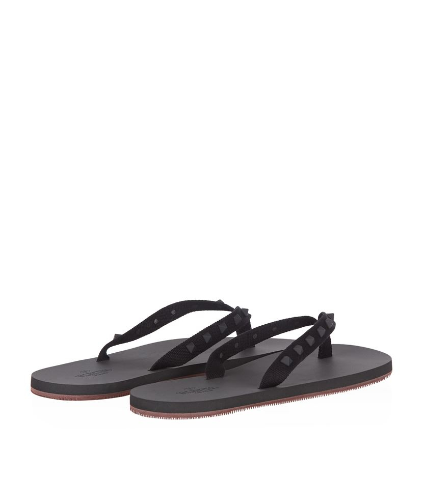 valentino rockstud flip flop in black for men lyst. Black Bedroom Furniture Sets. Home Design Ideas