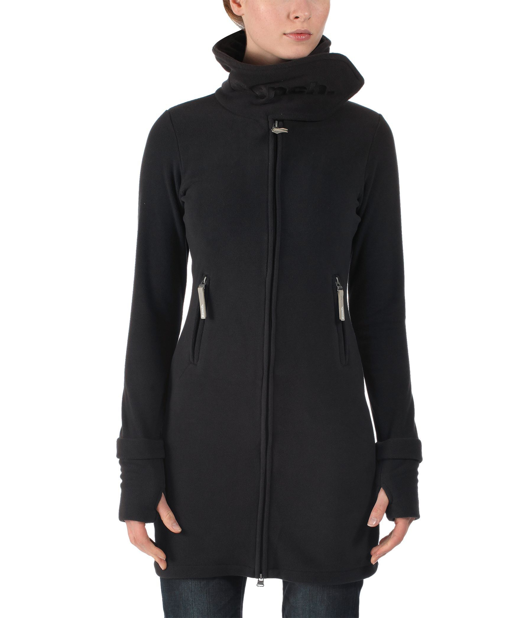 Bench Long Neck Zip Up Fleece Jacket in Black | Lyst