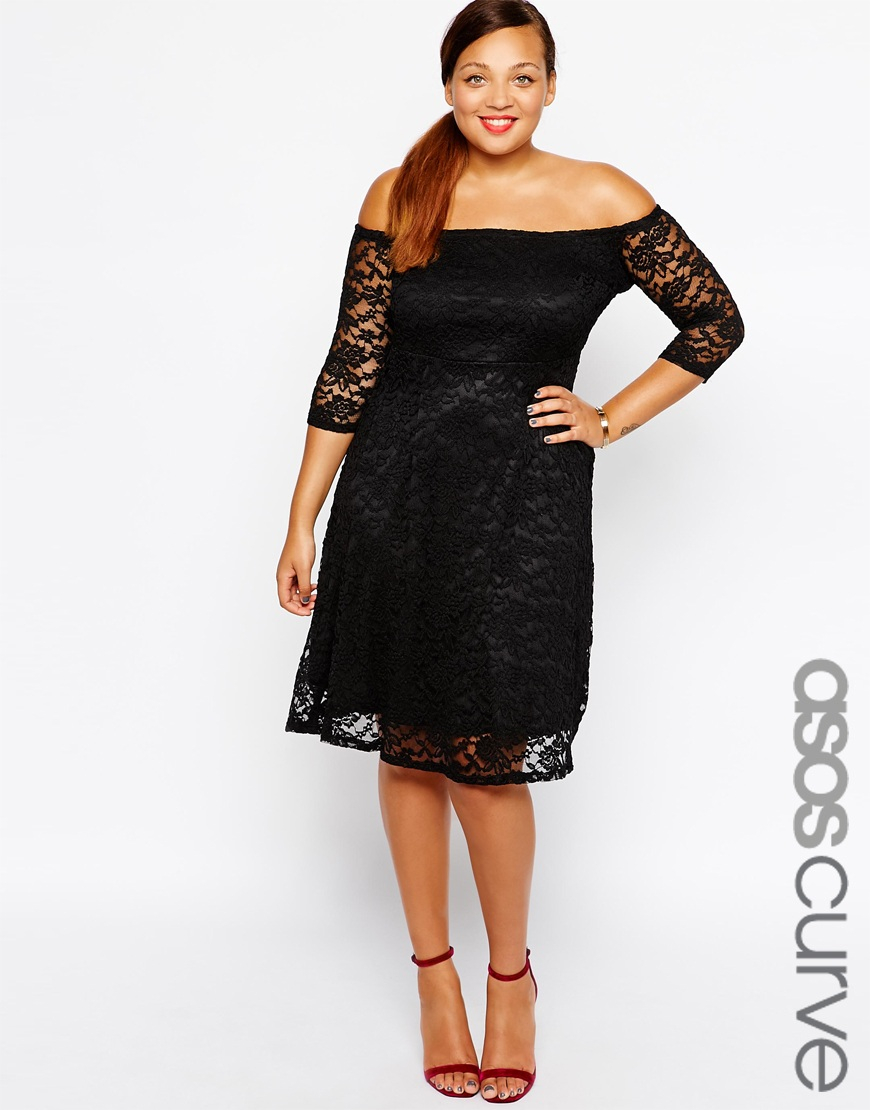 2e3dc5450f1b Lyst - ASOS Lace Bardot Dress With 3 4 Length Sleeve in Black