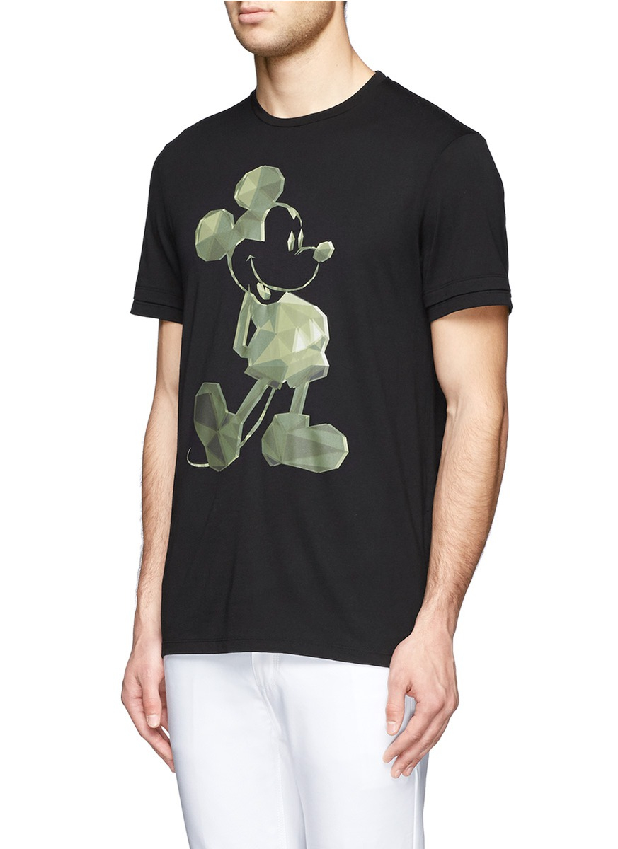 Neil barrett mickey mouse cotton modal t shirt in black for Modal t shirts mens