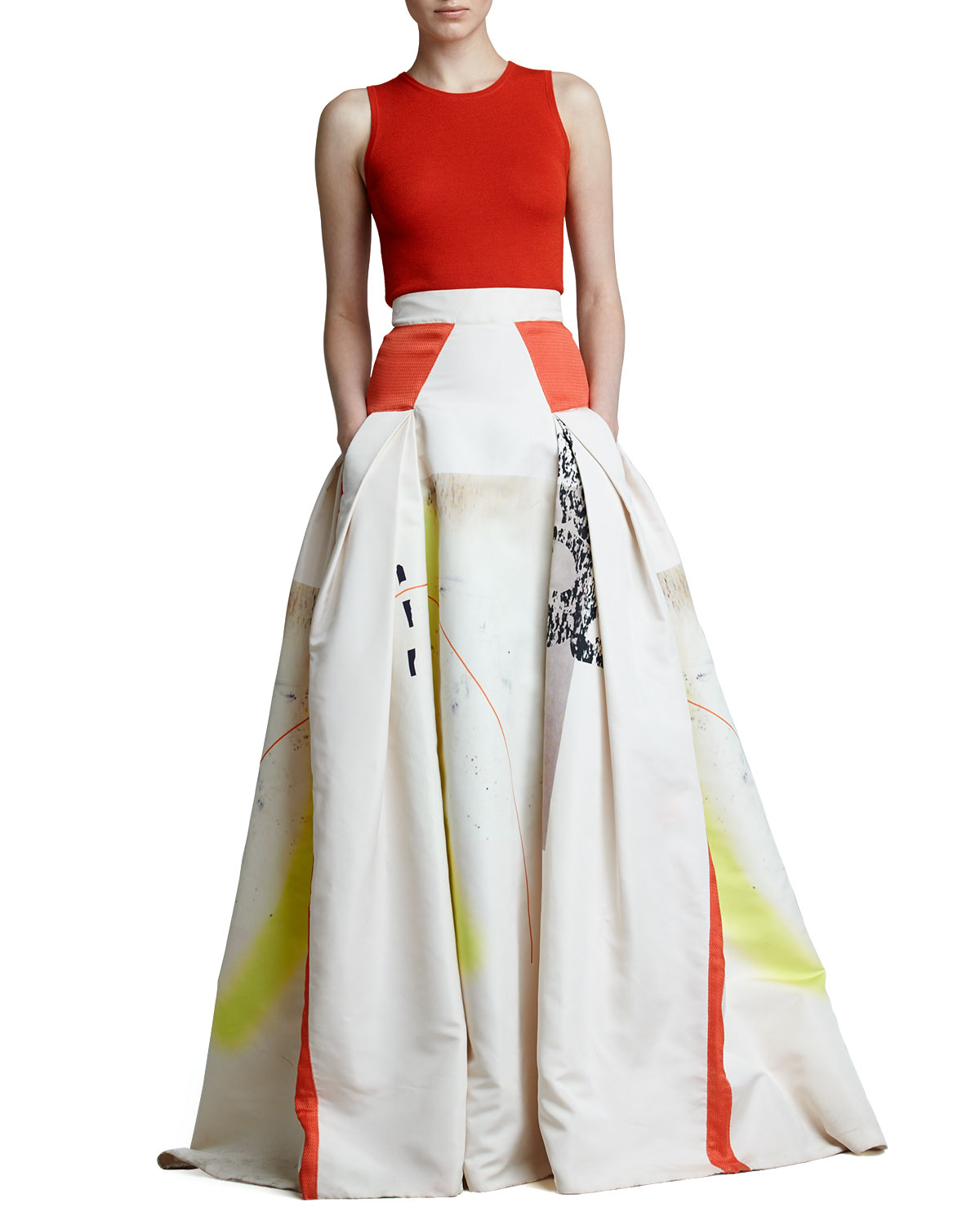 e7fc79c2c18 Carolina Herrera Modern Art Print Ball Skirt in White - Lyst