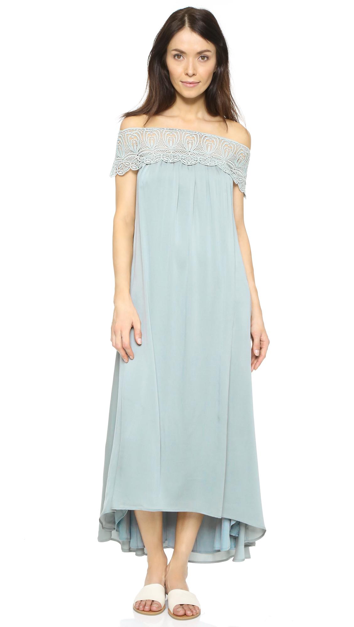 51663134bf5b Self-Portrait Off-The-Shoulder Maxi Dress in Blue - Lyst