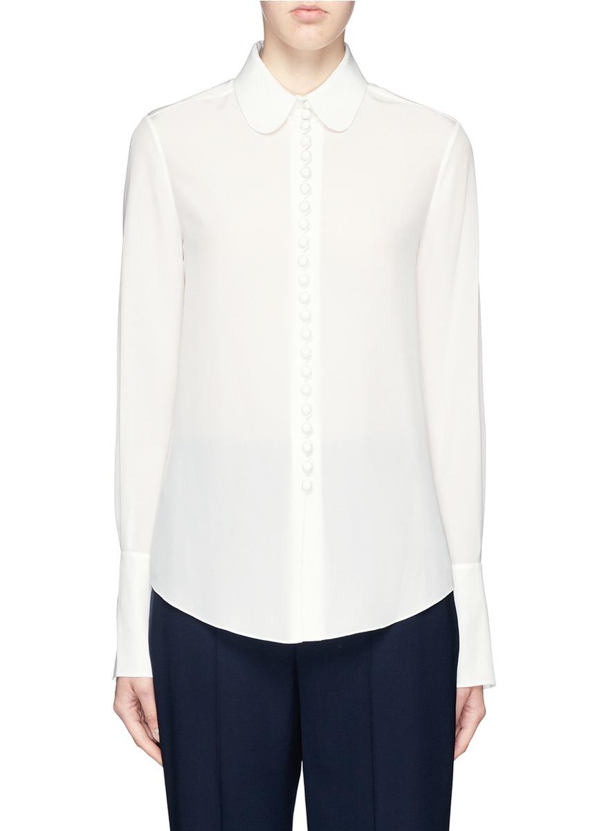 Womens Peter Pan Collar White Blouse 85