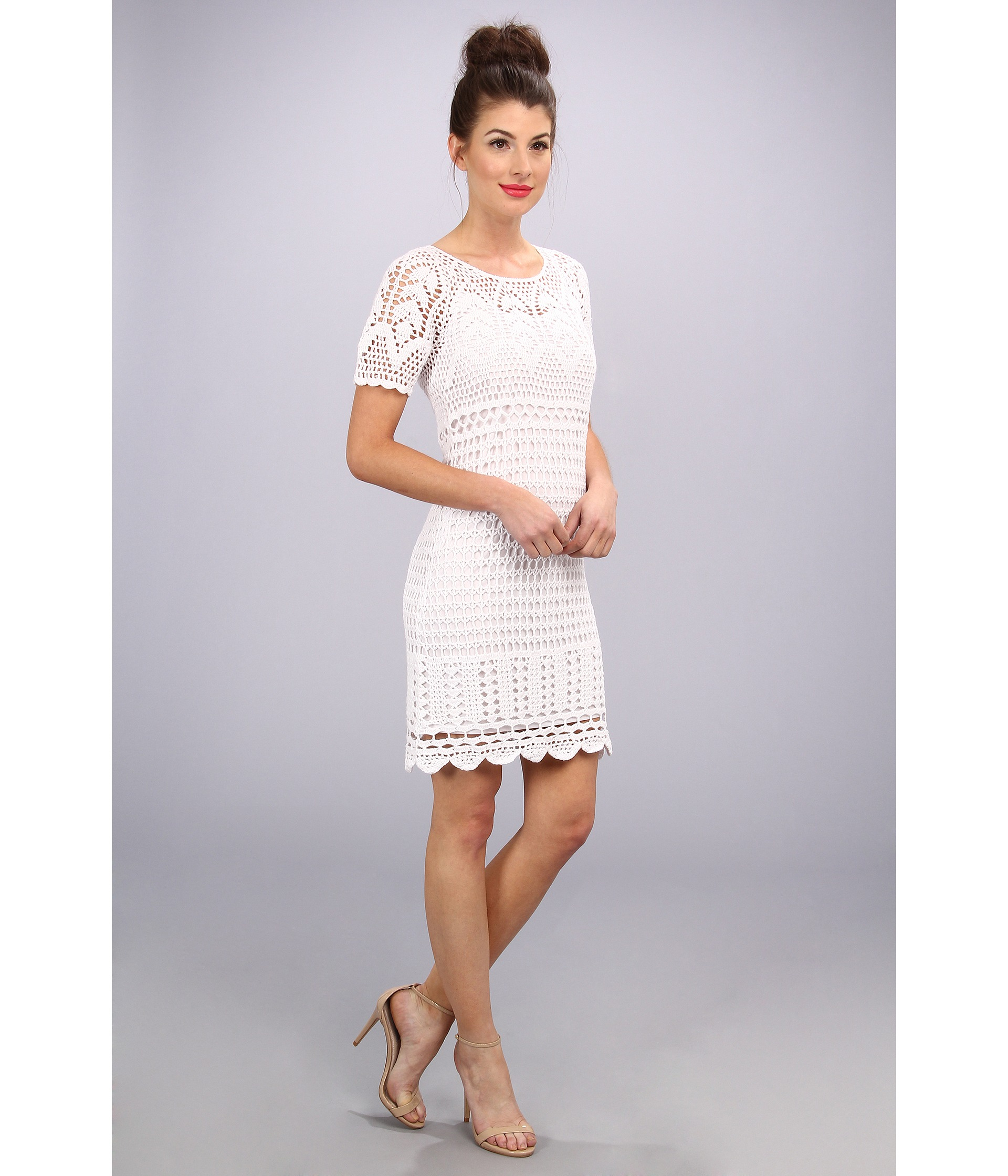 Donna morgan Short Sleeve Crochet Dress with Open Back in White  Lyst
