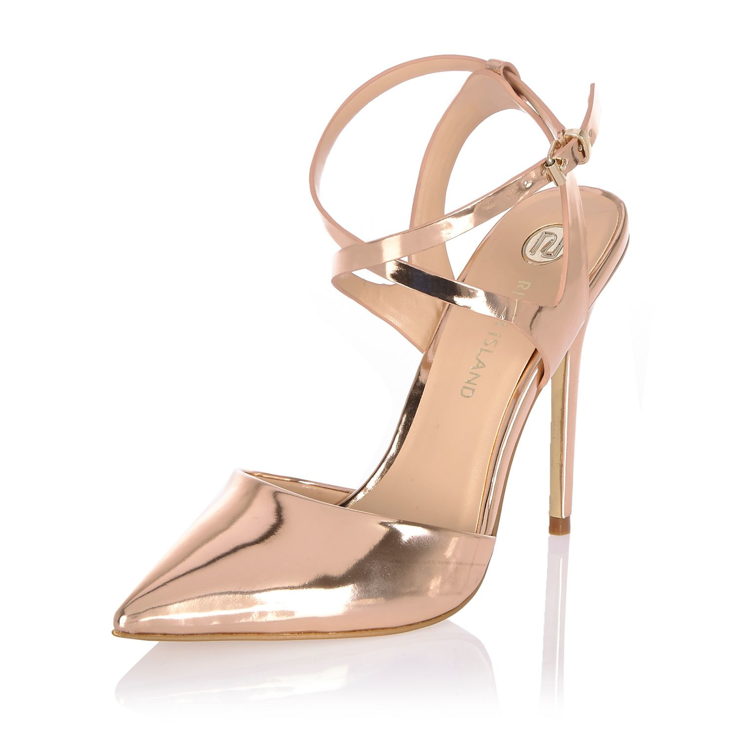 River island Metallic Gold Pointed Court Heels in Metallic | Lyst