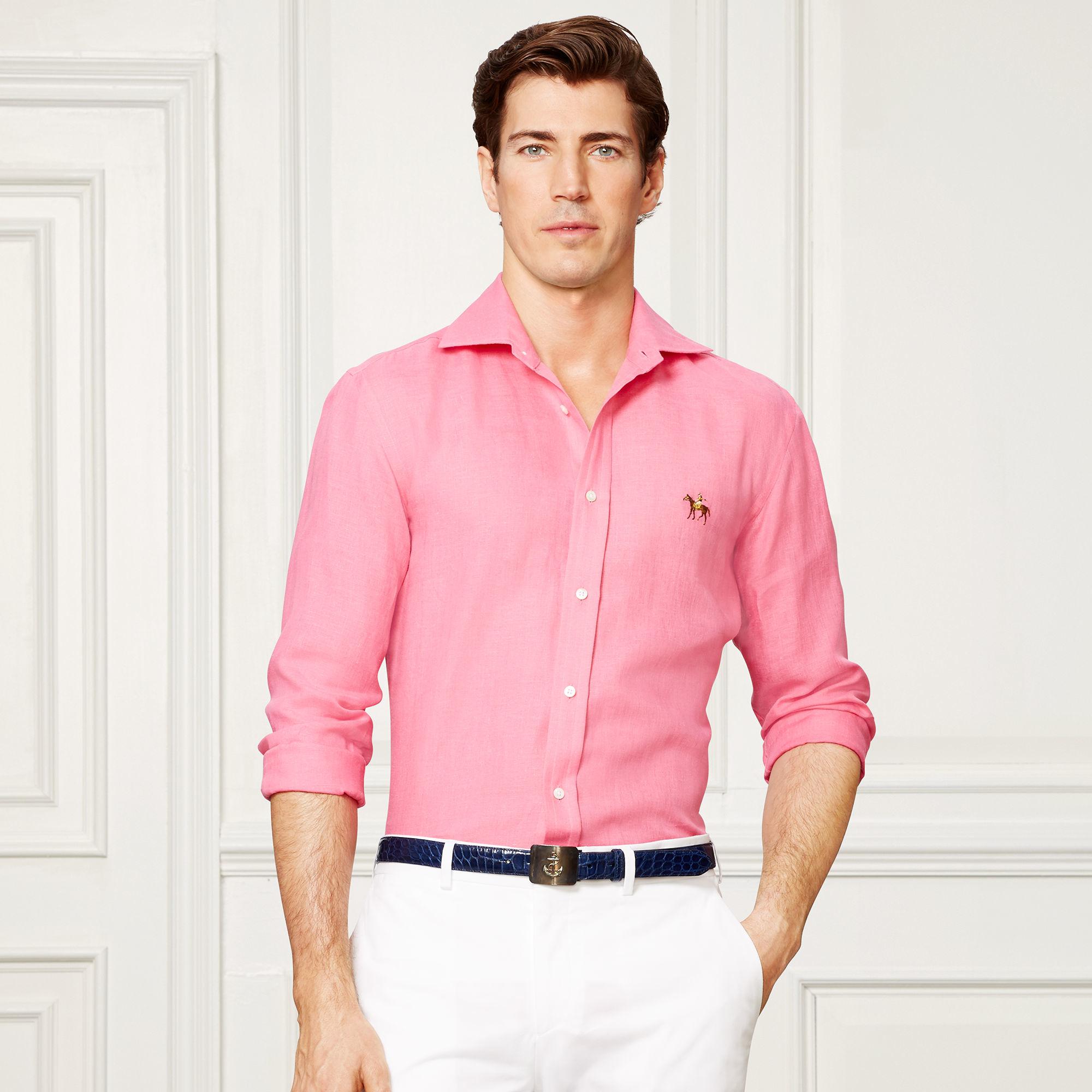 7e34a32b99 Ralph Lauren Purple Label Aston Linen Sport Shirt in Pink for Men - Lyst