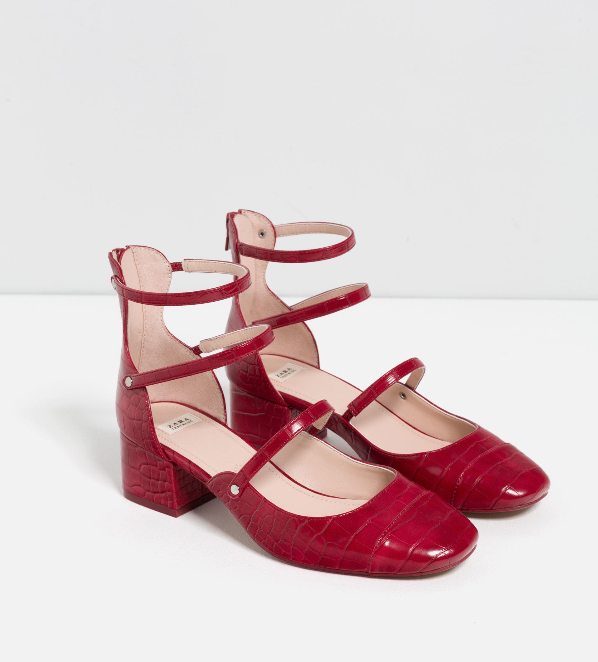 Dark Red Shoes Mid Heel