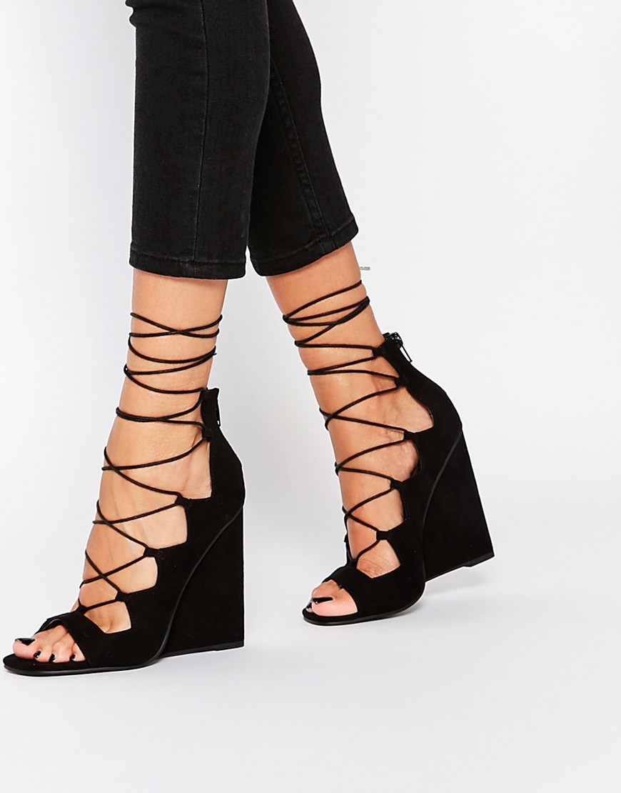 4e280d0de00 Asos Home Lace Up Wedge Heels In Black Lyst