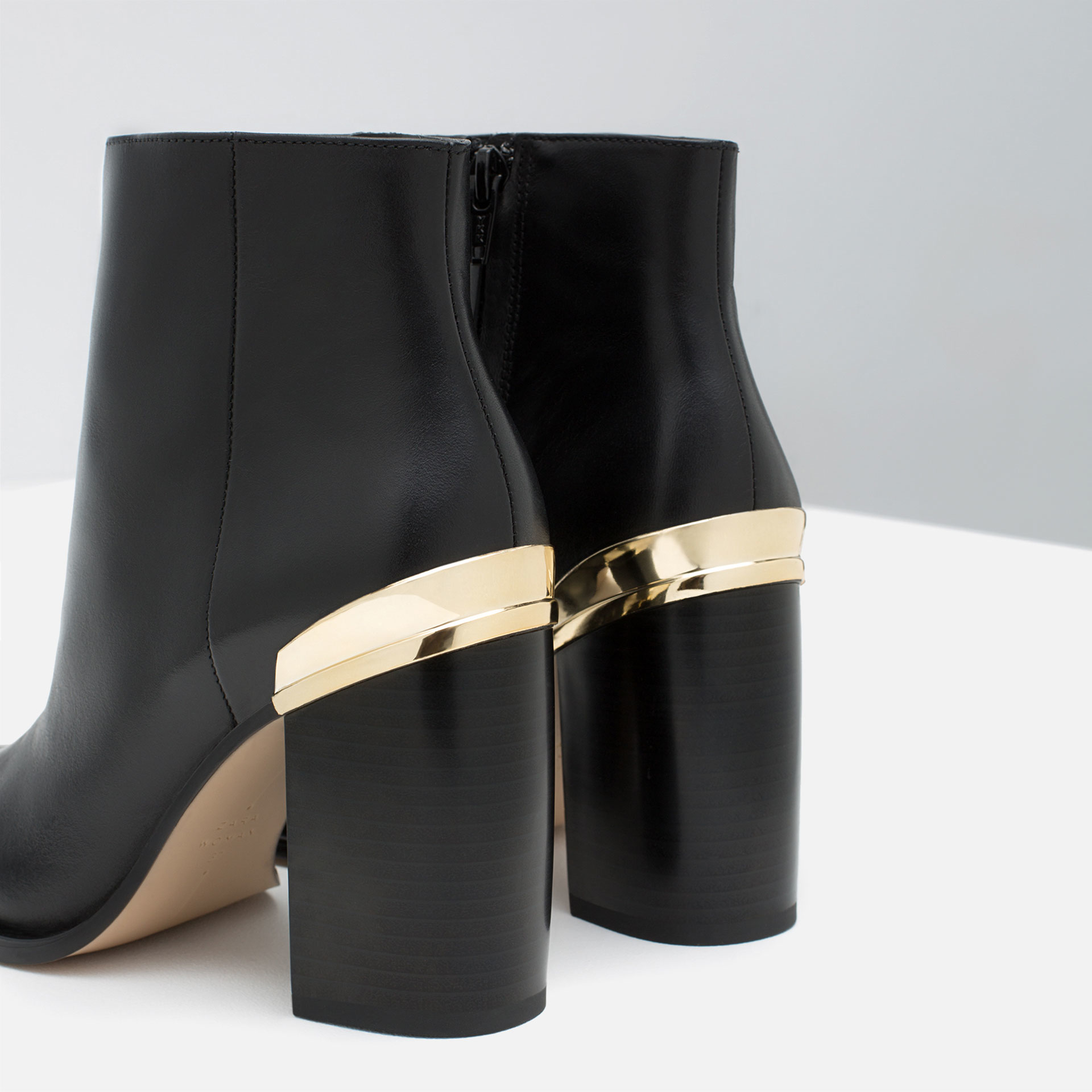 zara high heel leather ankle boots with metallic detail in