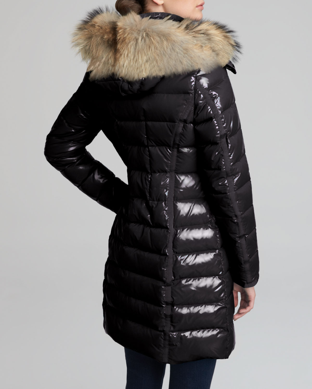 moncler womens hooded long down coat black