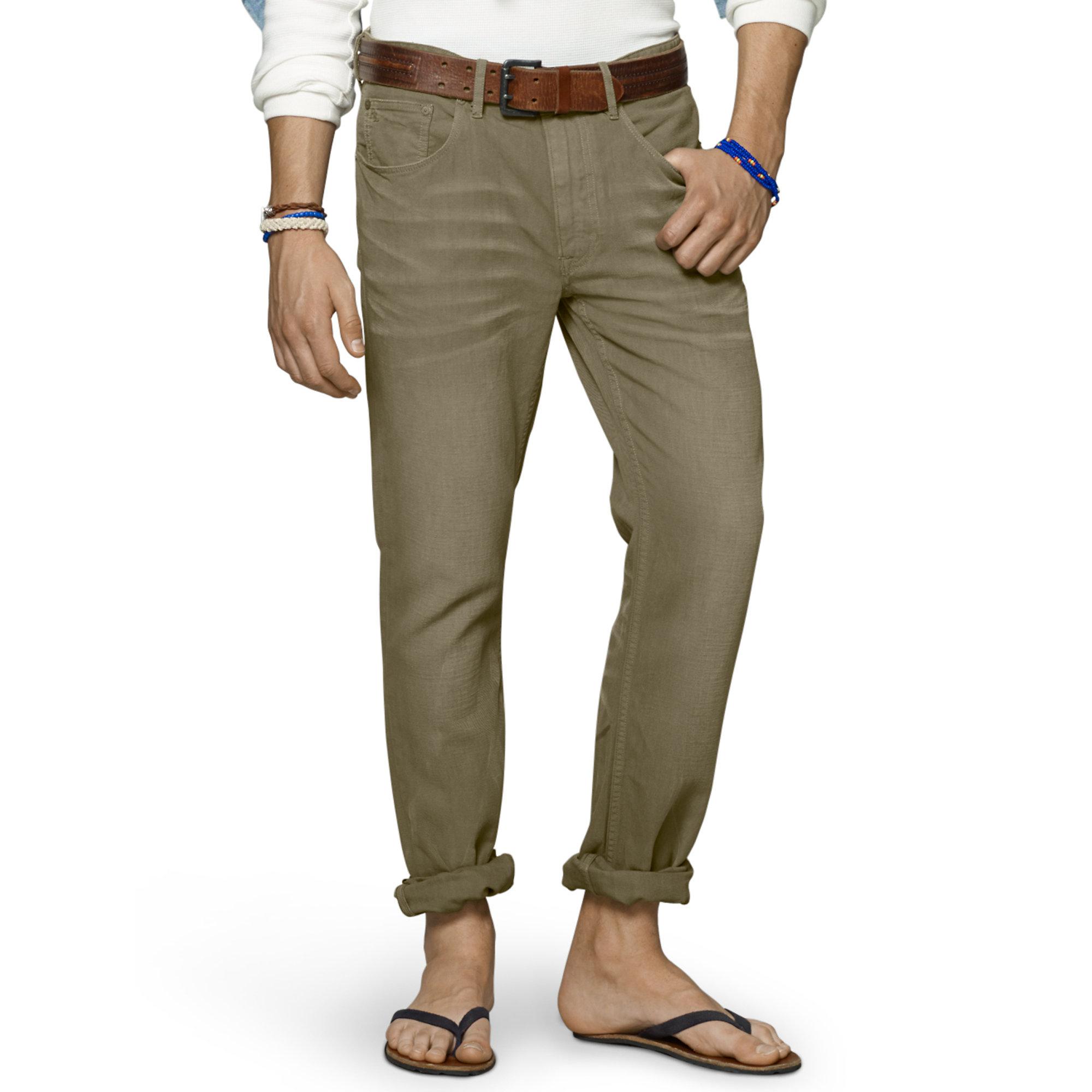 ralph lauren slim fit 5 pocket pant in green for men summer sage. Black Bedroom Furniture Sets. Home Design Ideas