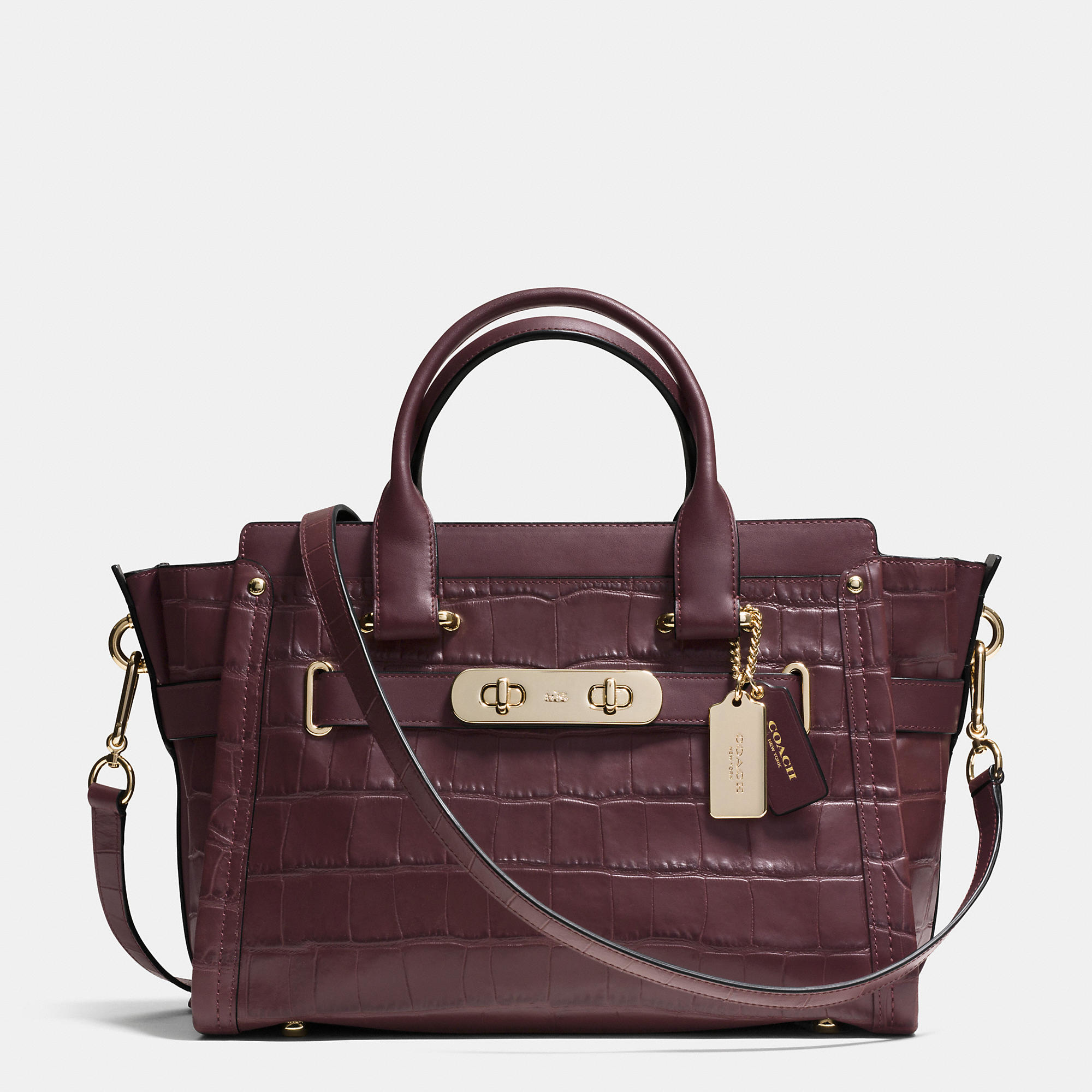 Lyst Coach Swagger Croc Embossed Shoulder Bag In Purple