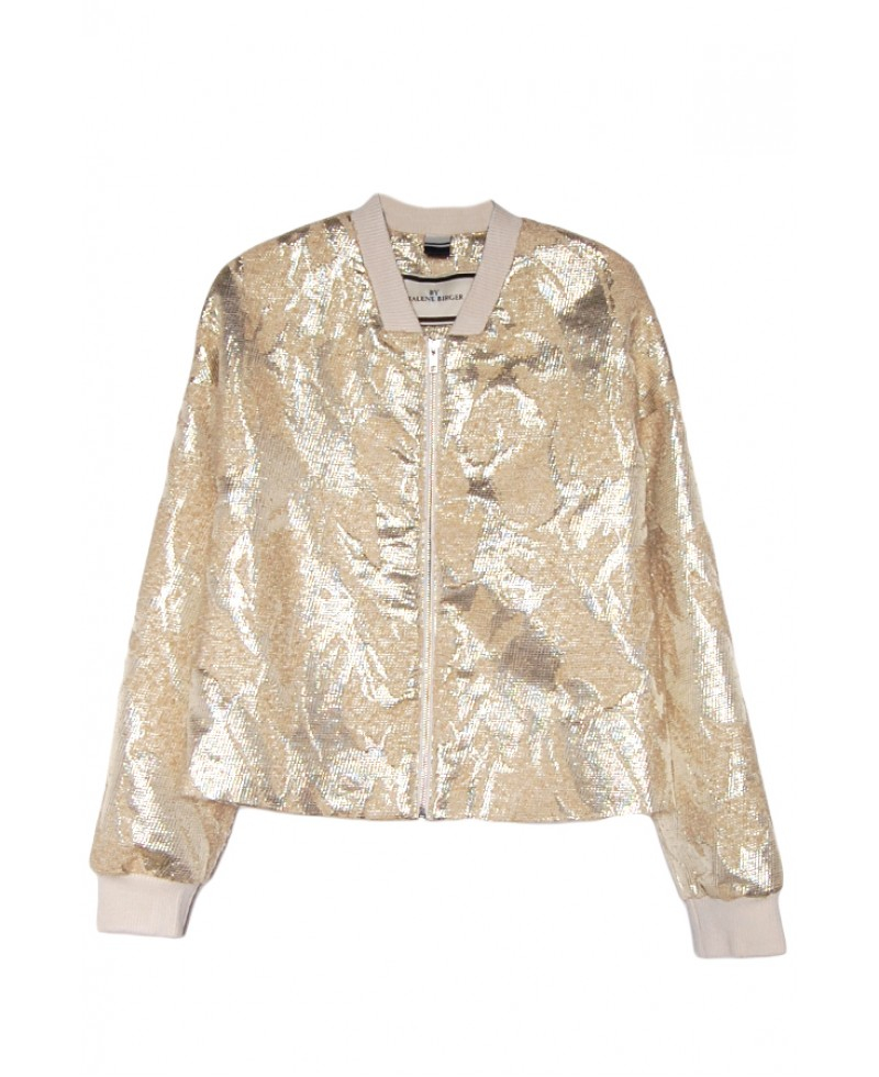 By malene birger Victorie Gold Bomber Jacket in Metallic | Lyst