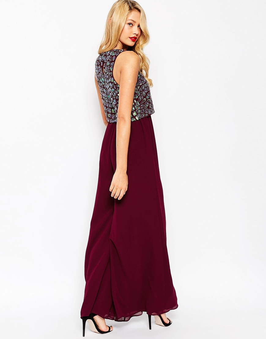 d43151f06825 ASOS Jumpsuit With Palazzo Pants And Embellished Over Layer - Purple ...