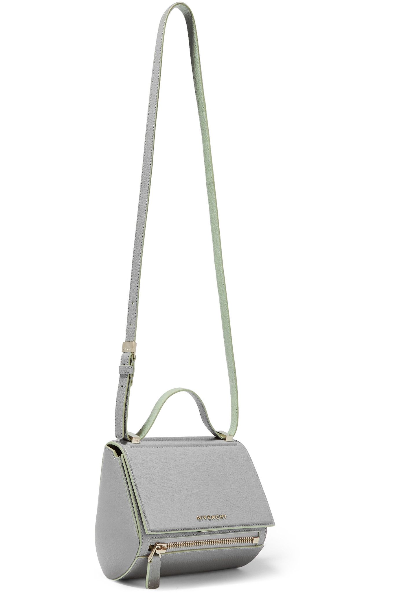 ff9fc1c53016 Givenchy Pandora Box Shoulder Bag In Gray And Mint Textured-leather ...