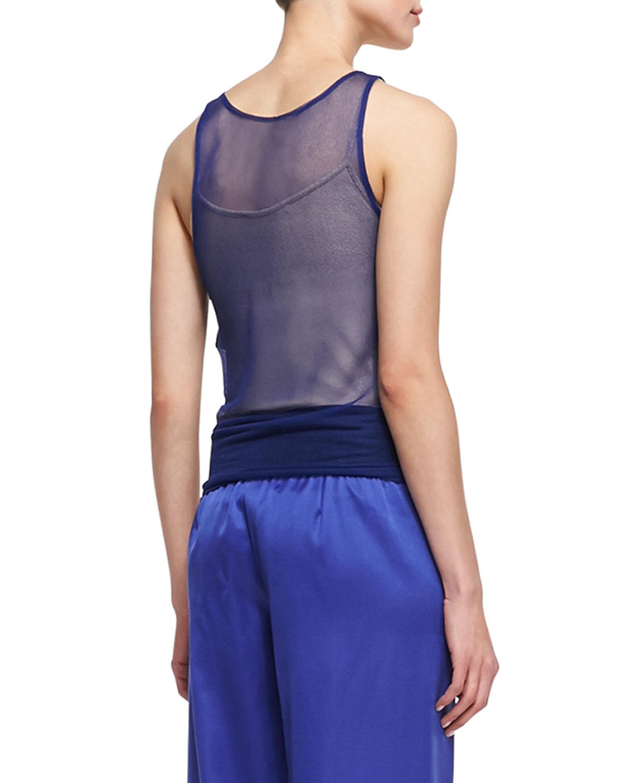 Lyst Giorgio Armani Sheer Sleeveless Top In Purple