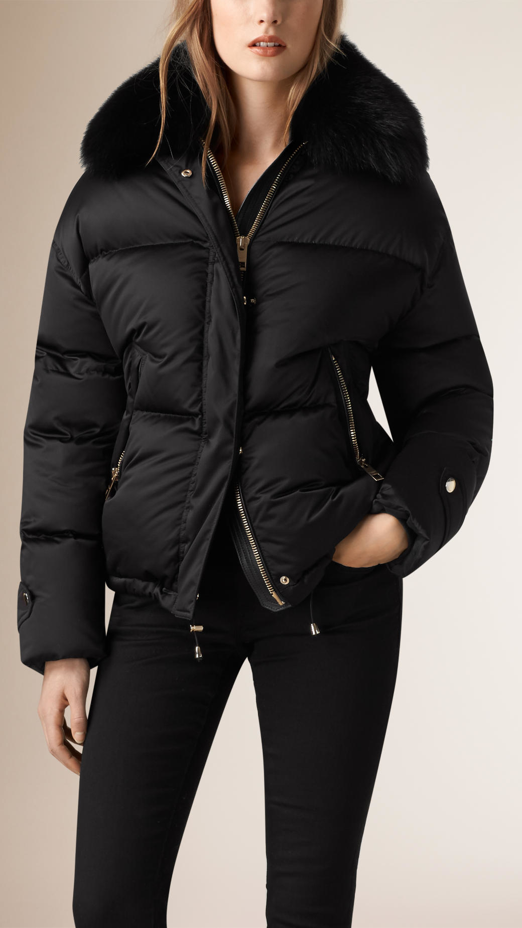 Burberry Fox Fur Trim Down Puffer Jacket in Black | Lyst
