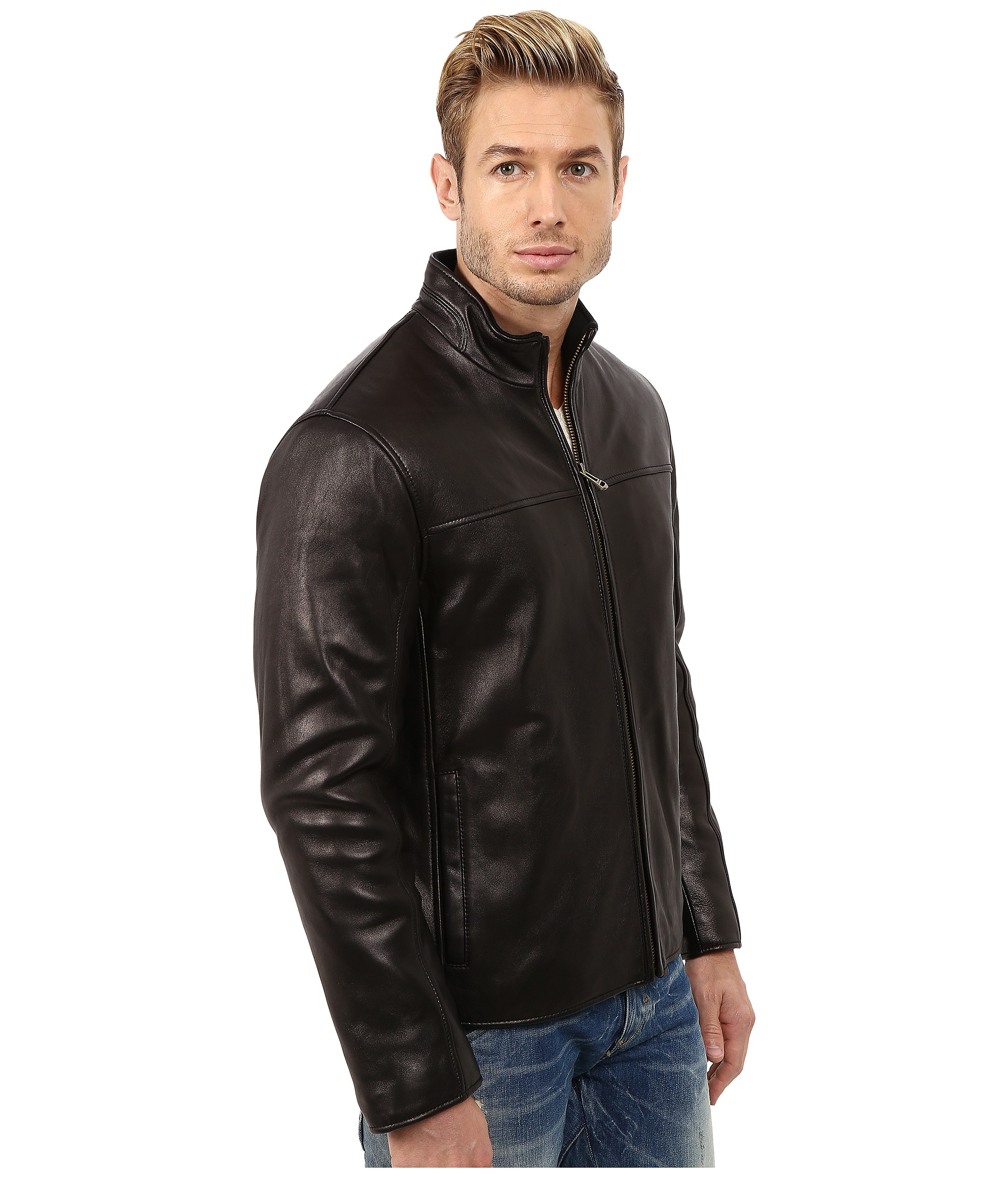 Cole Haan Smooth Lamb Convertible Collar Jacket In Black