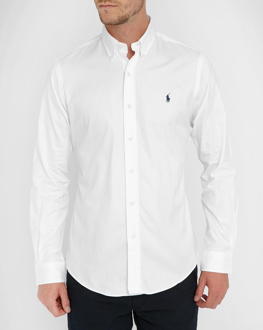 Polo Ralph Lauren White Dress Oxford Pin Point Shirt In