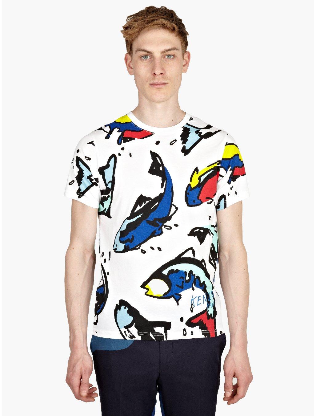 Kenzo mens white big fish print tshirt in multicolor for for Fish print shirt