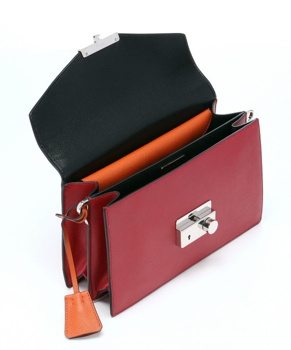 Prada Red And Orange Saffiano Leather Color Block Shoulder Bag in ...