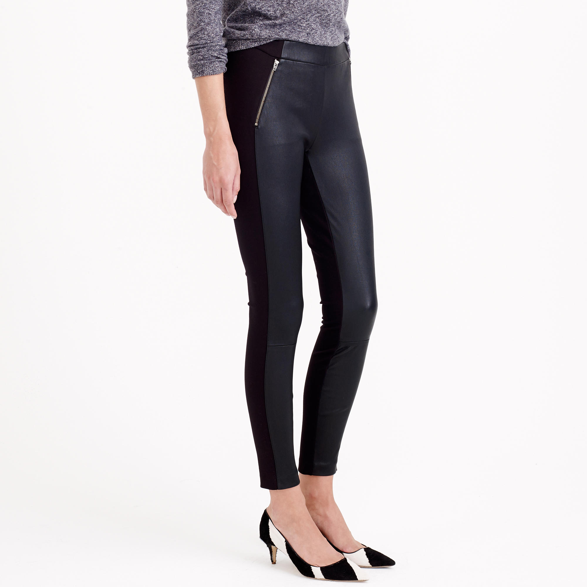 3b17073068357c J.Crew Pixie Pant With Leather Panels in Black - Lyst