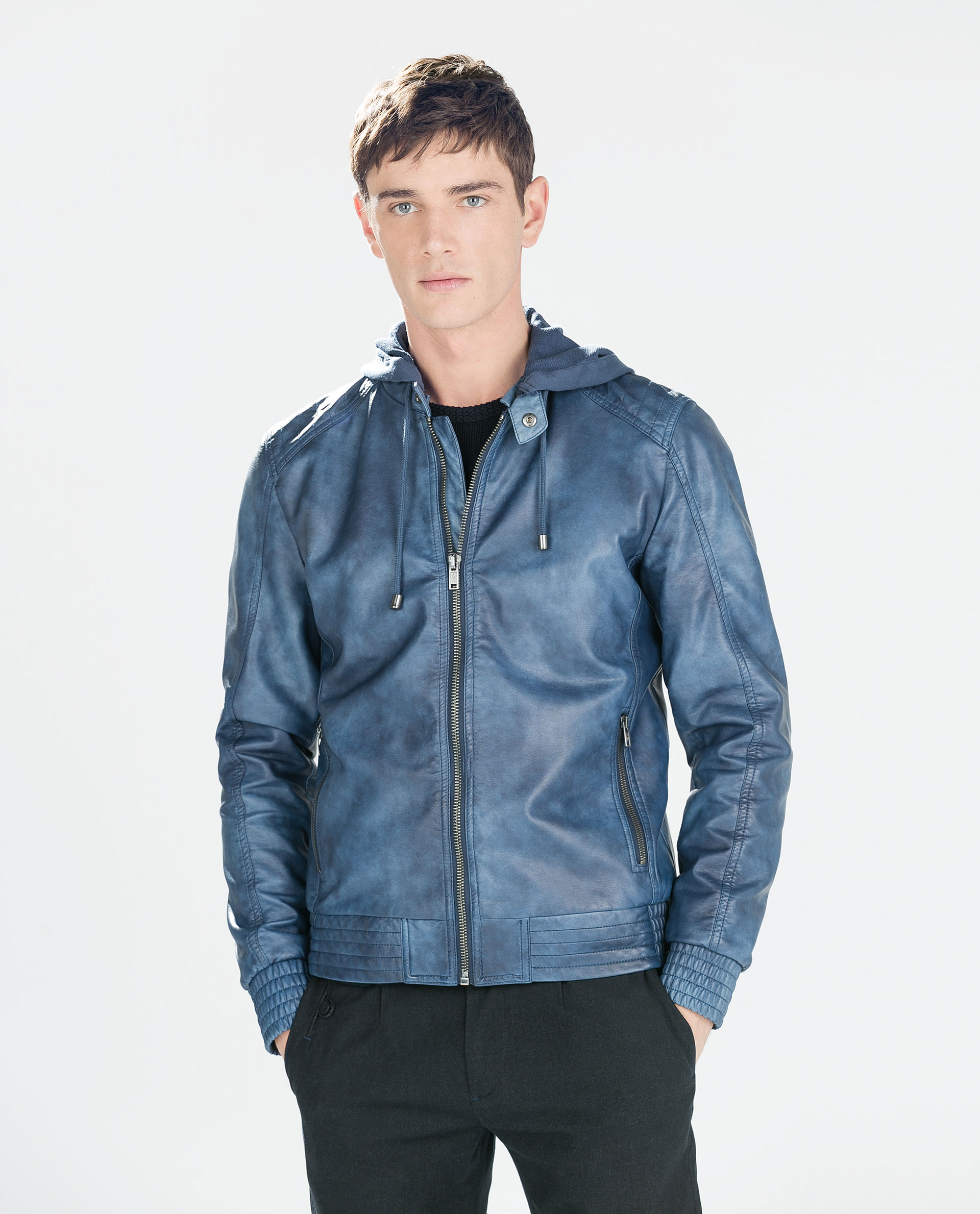Zara Faux Leather Jacket With Hood Faux Leather Jacket With Hood ...