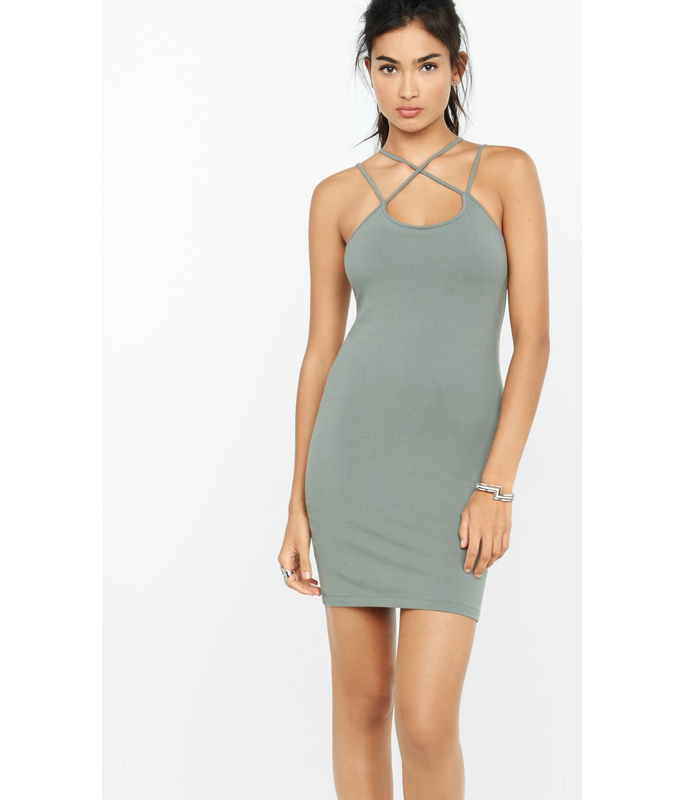 3a6ff9a5fd95 Express Strappy T-shirt Sheath Mini Dress in Green - Lyst