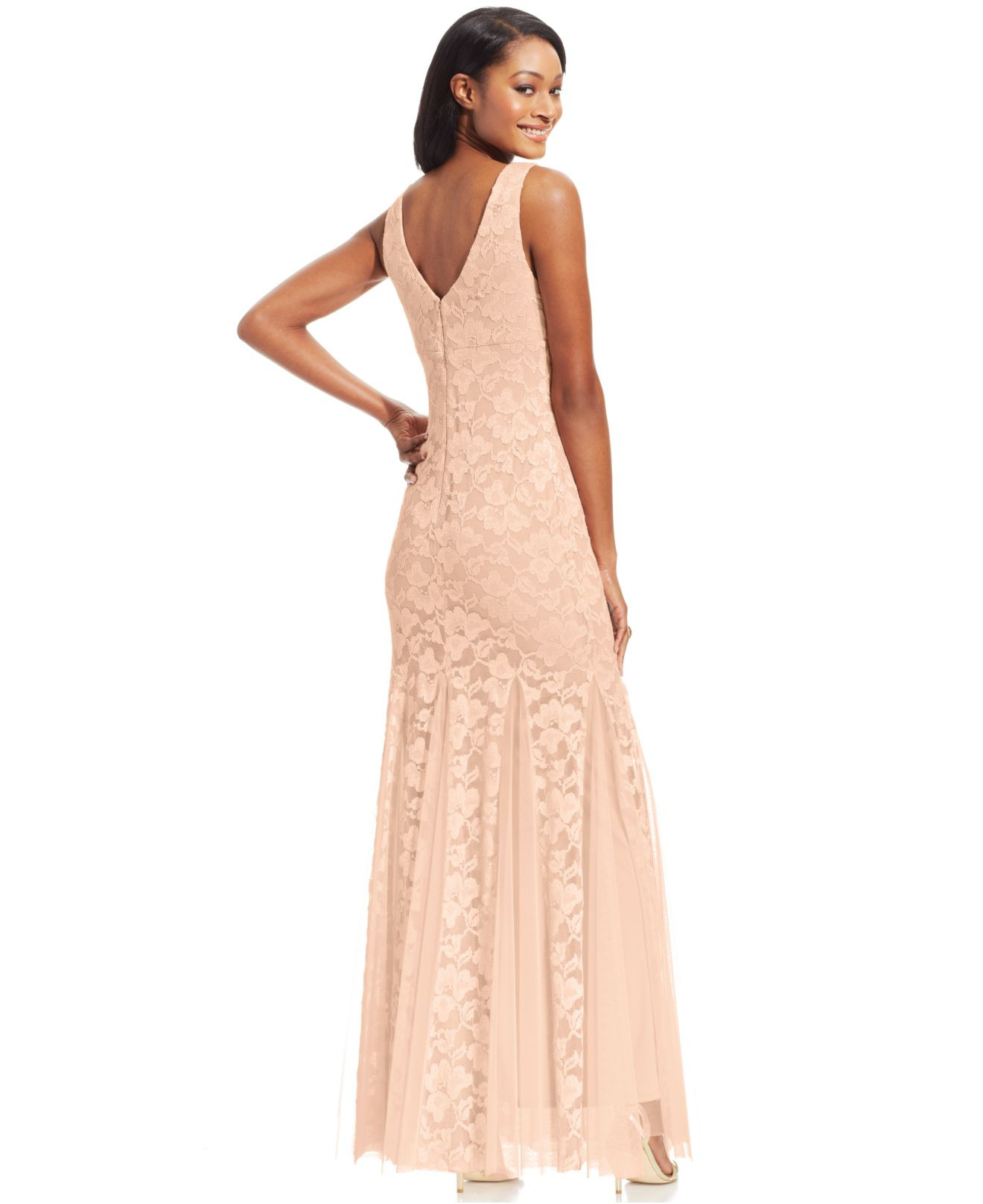 Lyst - Xscape Sleeveless Lace Mermaid Gown in Natural