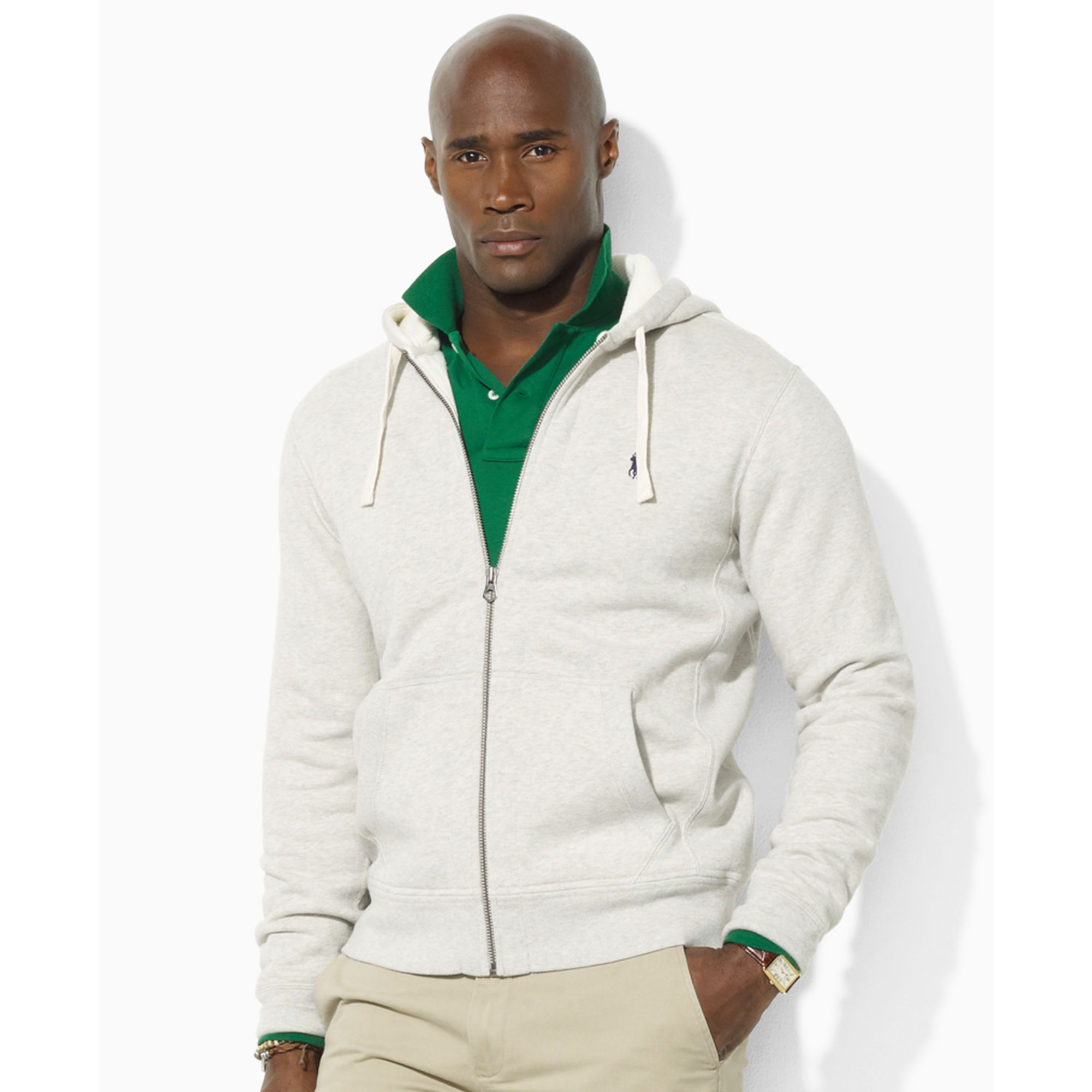 ralph lauren classic fleece hoodie in gray for men lyst. Black Bedroom Furniture Sets. Home Design Ideas