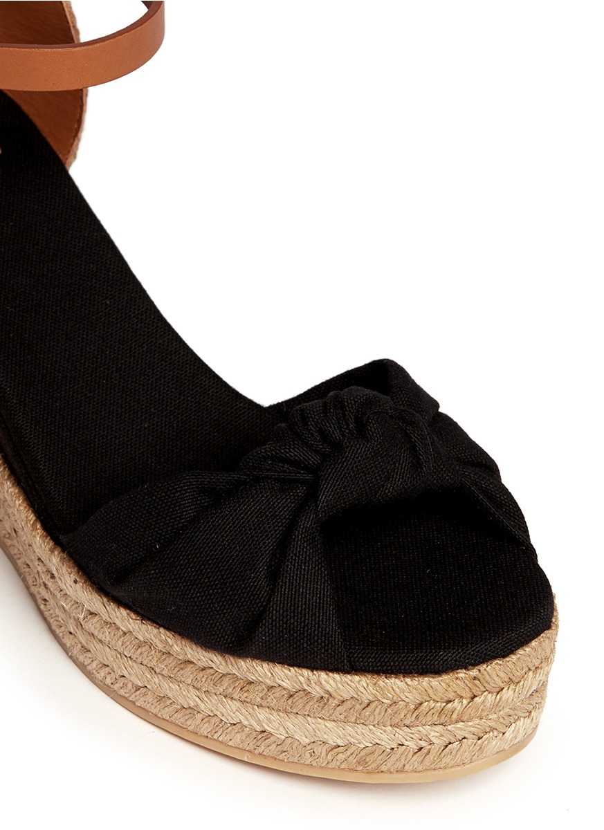1704cafab32f Tory Burch Knotted Bow Canvas Espadrille Platform Sandals in Black - Lyst