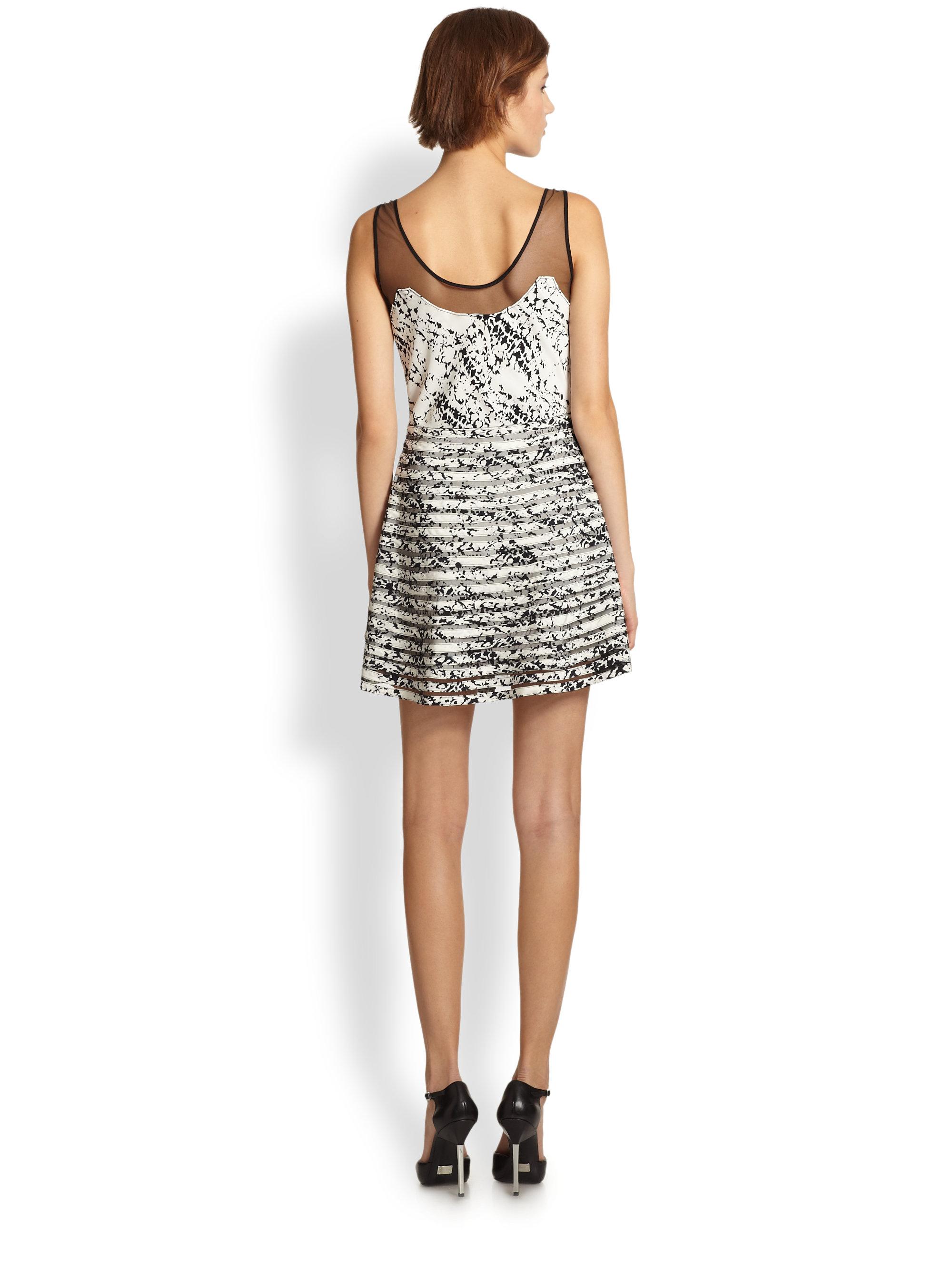 Lyst - Parker Jax Silk Sheer Mesh Paneled Printed Dress