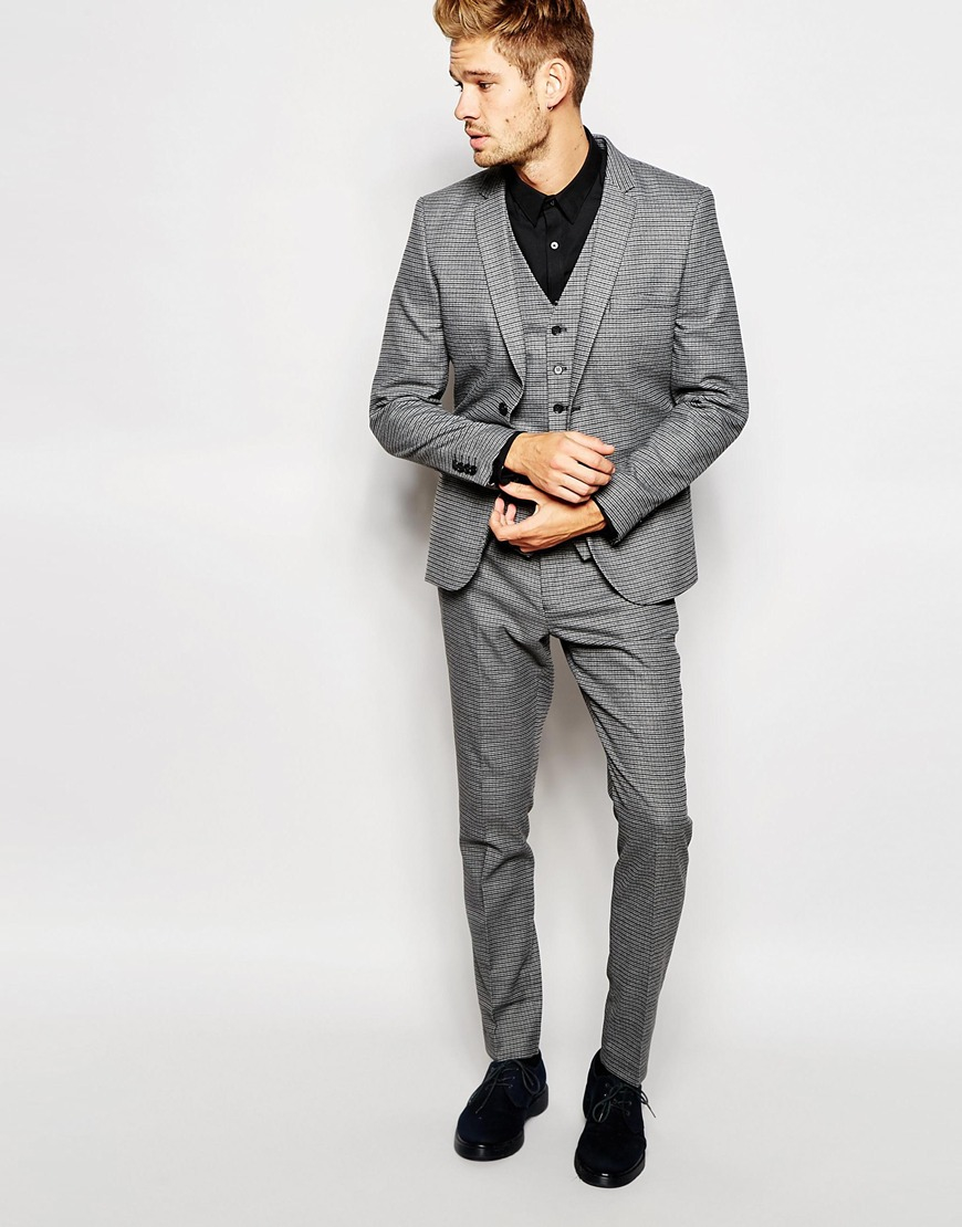 Selected Elected Homme Dogtooth Suit Trousers In Skinny Fit in ...