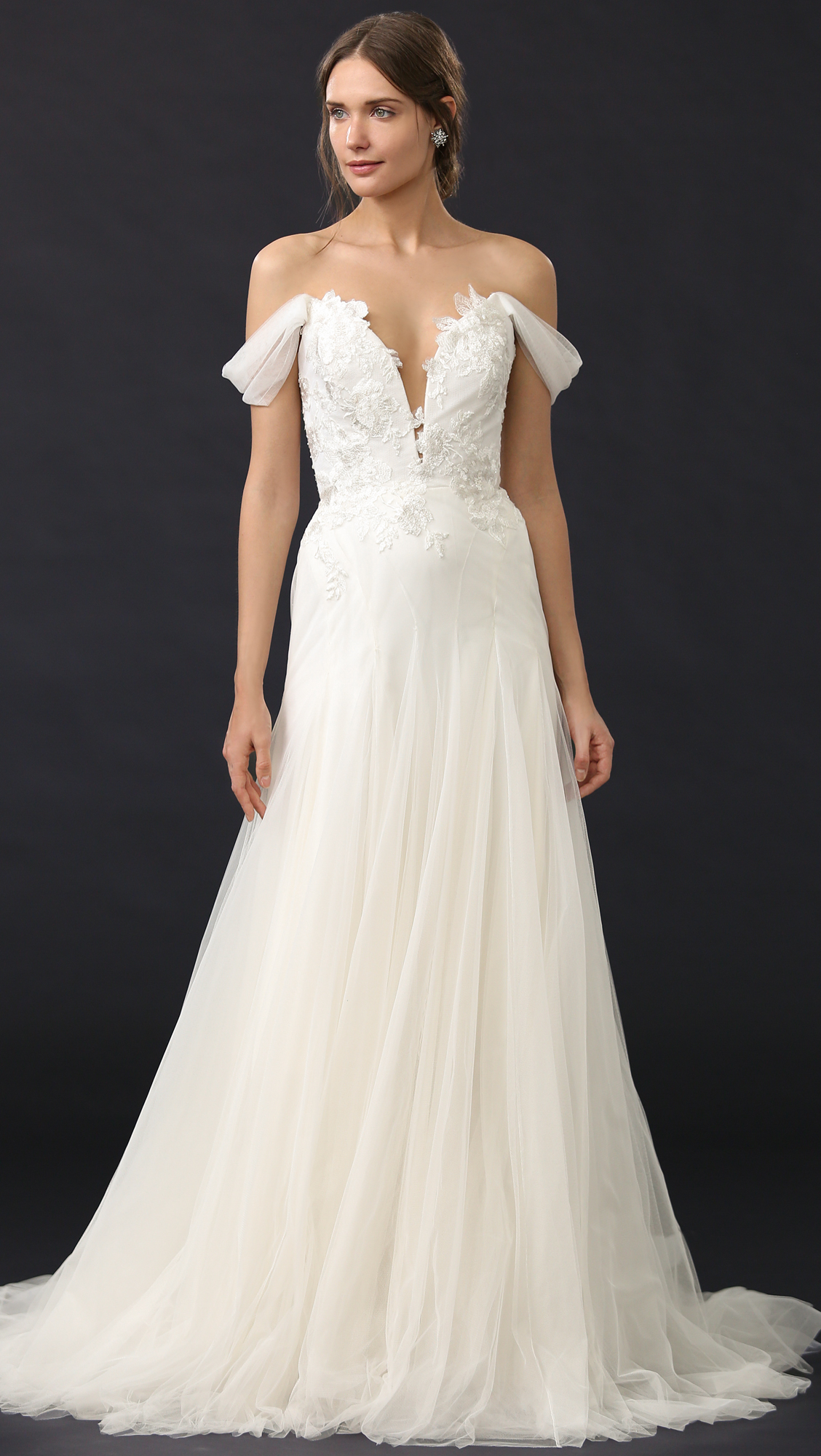 Lyst - Marchesa Hyacinth Gown With Plunging Neckline in White