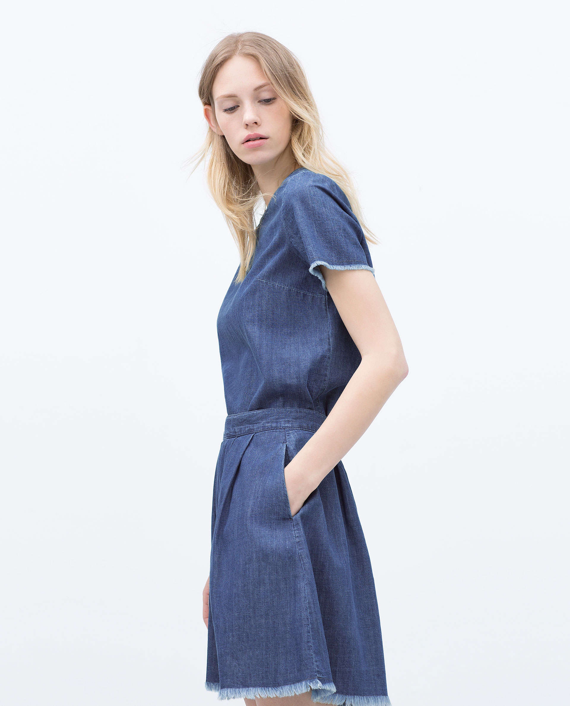 Zara Denim Skirt With Frayed Hem in Blue | Lyst