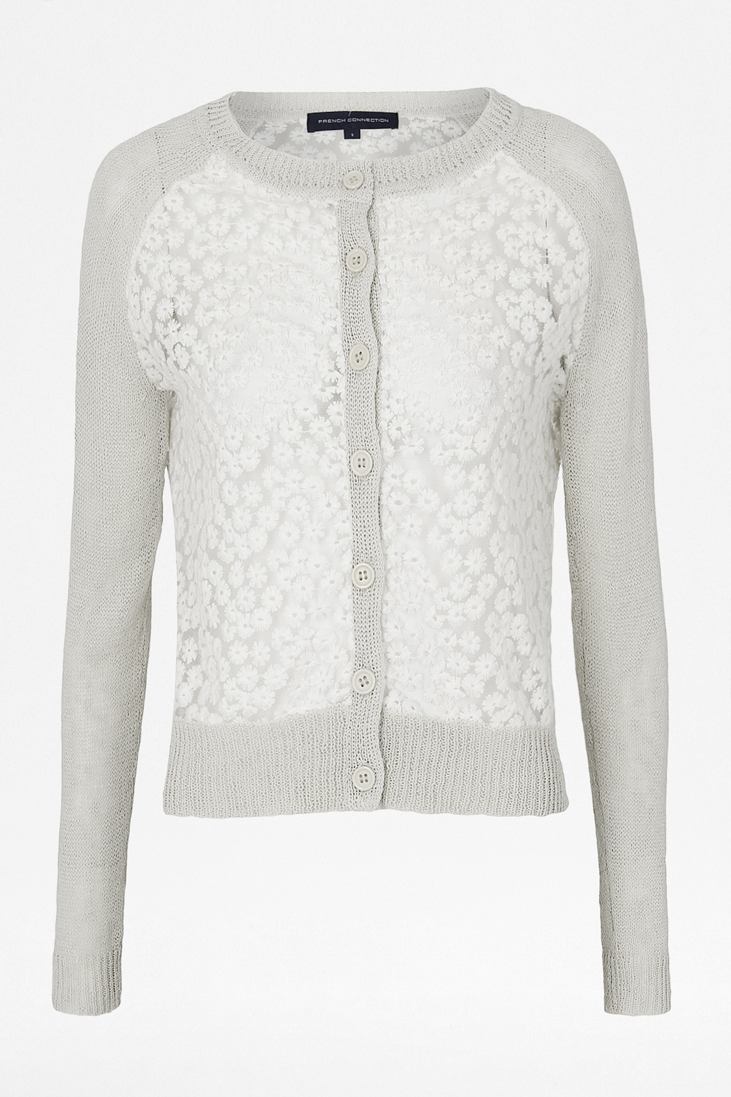 French connection Laila Lace Cropped Cardigan in Natural | Lyst