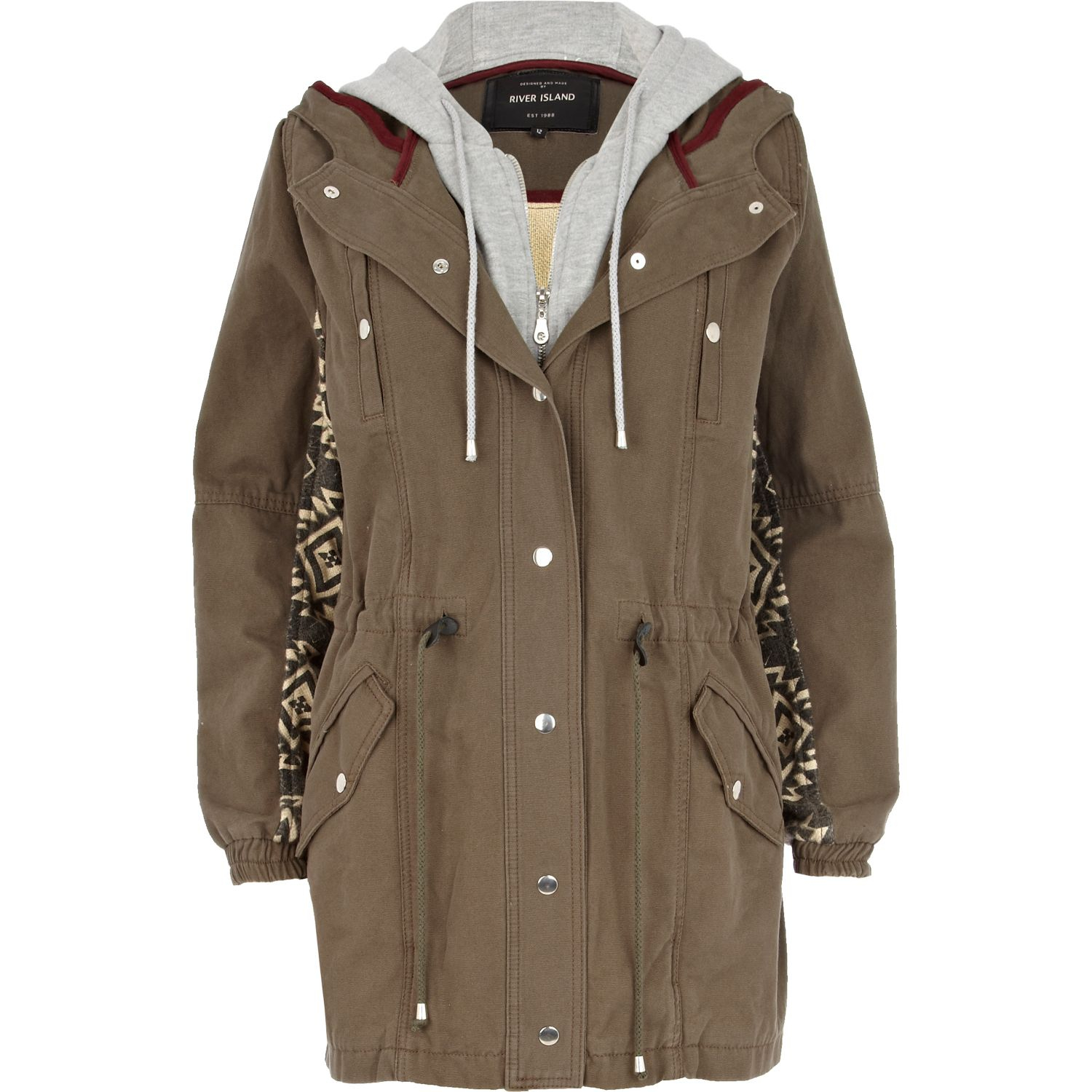 River island Khaki Back Print 2 In 1 Parka Jacket in Natural for ...