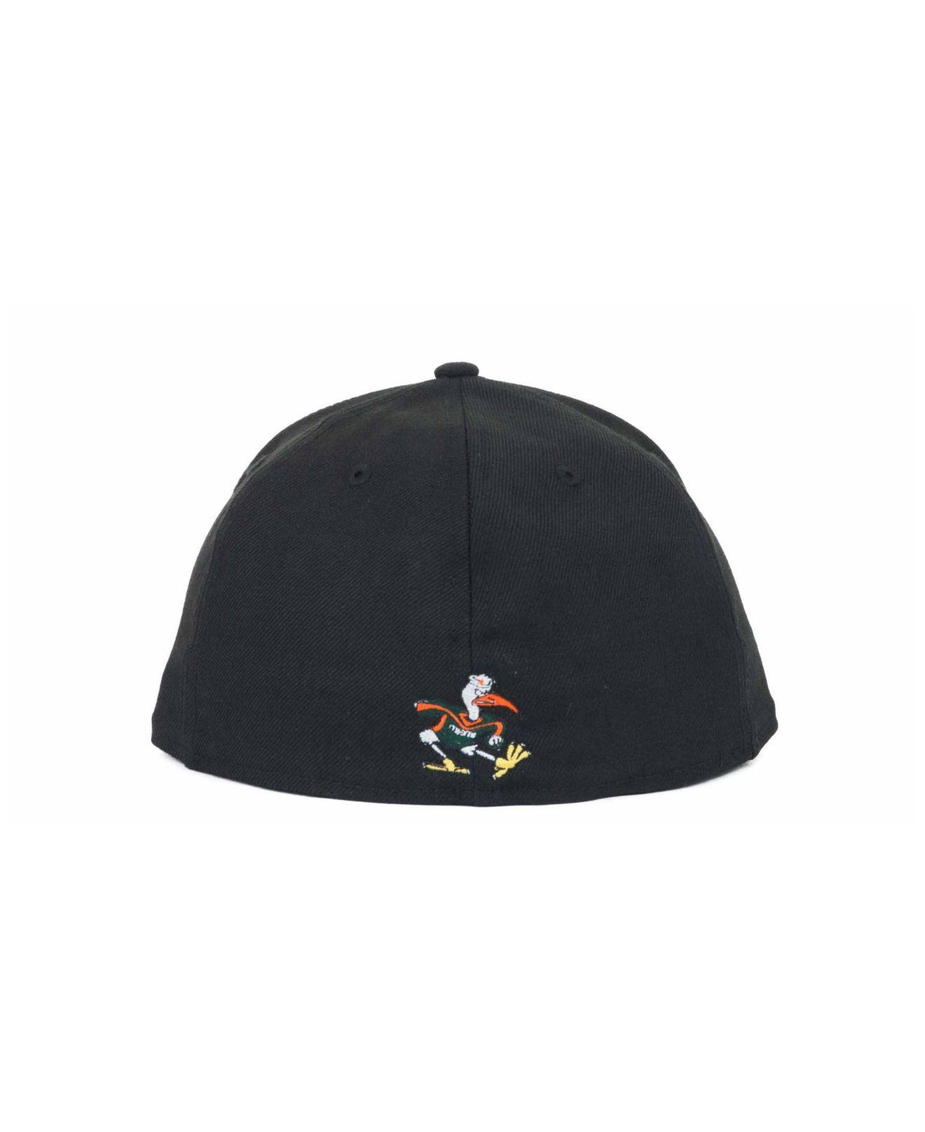 online retailer a12a9 168a4 ... 2 tone 59fifty cap fabulous 7d8e8 7bbd6  real miami hurricanes new era  ncaa black on black with white 59fifty cap black 323db ec54e