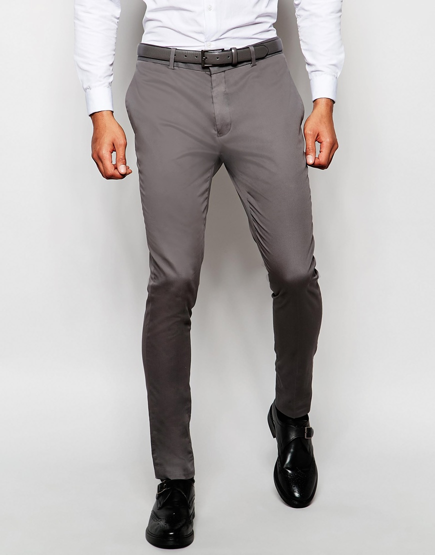 1bd58273eb76 Lyst - ASOS Super Skinny Smart Trousers In Cotton Sateen - Grey in ...